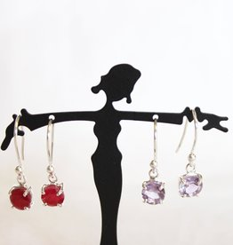 Ruby, Amethyst Earrings