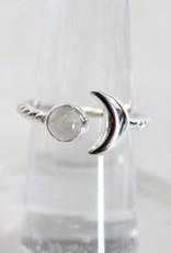 Moonstone Ring w/ Crescent Moon