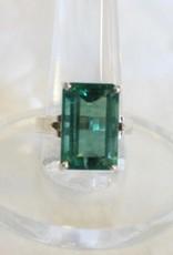 Green Fluorite Ring - Facted Rectangle sz 8.75