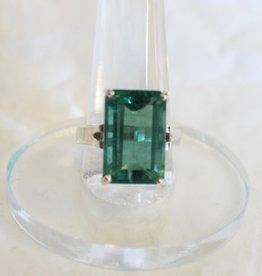 Green Fluorite Ring - Facted Rectangle sz 8.75