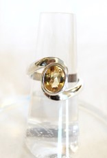 Citrine Ring - Faceted Curvey Band sz 5.75, 8