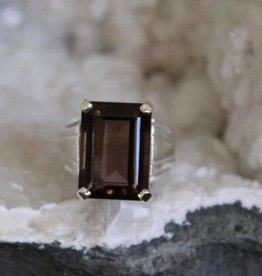 Smoky Quartz Rectangle Ring ~ Size 9