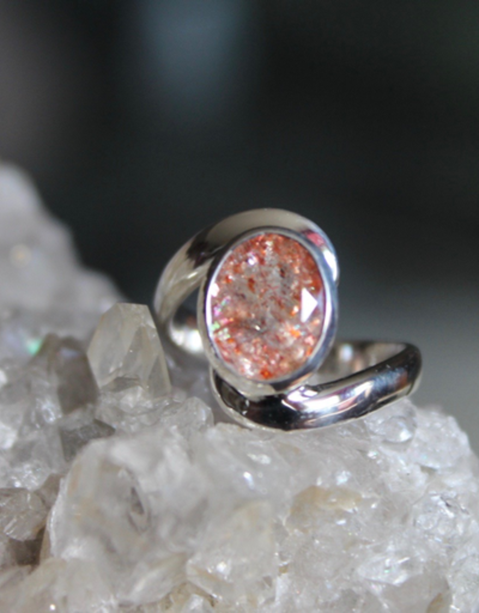 Sunstone Ring with curvy band ~ Size 5.75