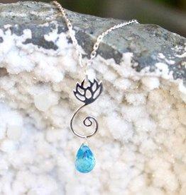 Blue Topaz or Amethyst Lotus Necklace