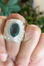 Apatite Ring with Filigree - Size 8