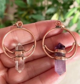 Amethyst or Quartz Copper Pendant