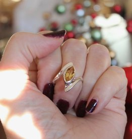Citrine Ring faceted marquis cut sz 8