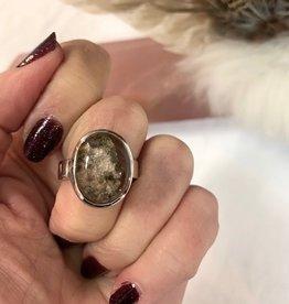 Lodolite (Shaman Dream Stone) Ring - Oval Cabochon sz 7