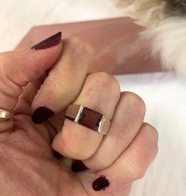 Garnet Ring Faceted Rectangle