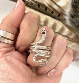 Garnet Serpent Ring - Size 8
