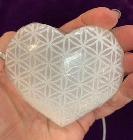 Selenite Hearts Etched Flower of Life