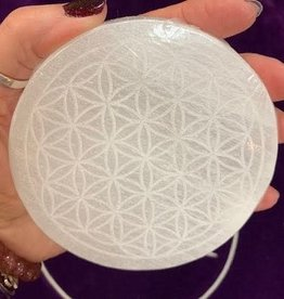 Selenite Charging Disc with Flower of life