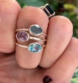 Amethyst, Chalcedony, Blue Topaz Stacking Ring Set- Size 7