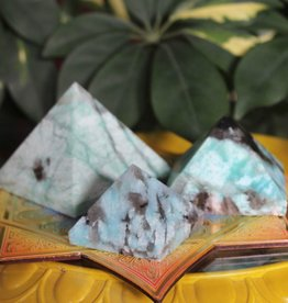 Amazonite Pyramids with Smoky Quartz for healthy communication