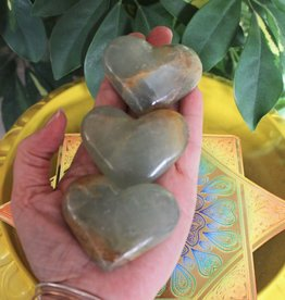 Lemurian Aquatine Calcite Hearts giving love