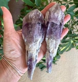 Amethyst Elestial Rough Point Pair for sacred wisdom