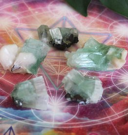 Green Apophyllite with Stilbite Rough charged in the March Full Moon