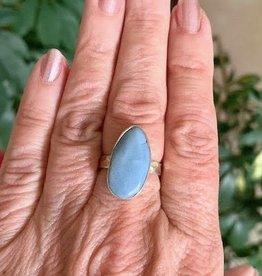 African Blue Opal Jasper Ring sz 8