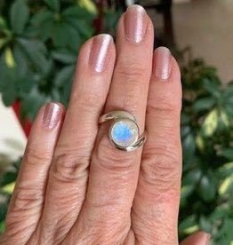 Moonstone Ring Faceted Round sz 7.75