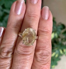 Rutilated Quartz Ring Faceted Oval for quick manifestation