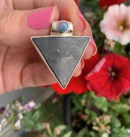 Shungite with Opal Triangle Pendant