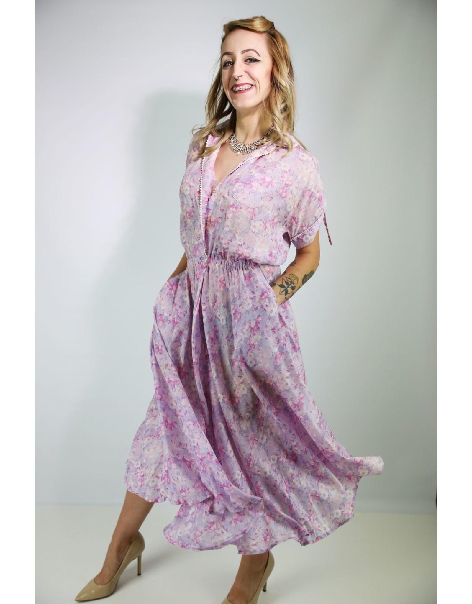 1930'S Lavender Flower Day Dress