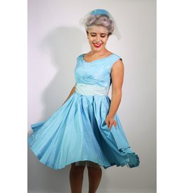 1940's Blue Taffeta Party dress