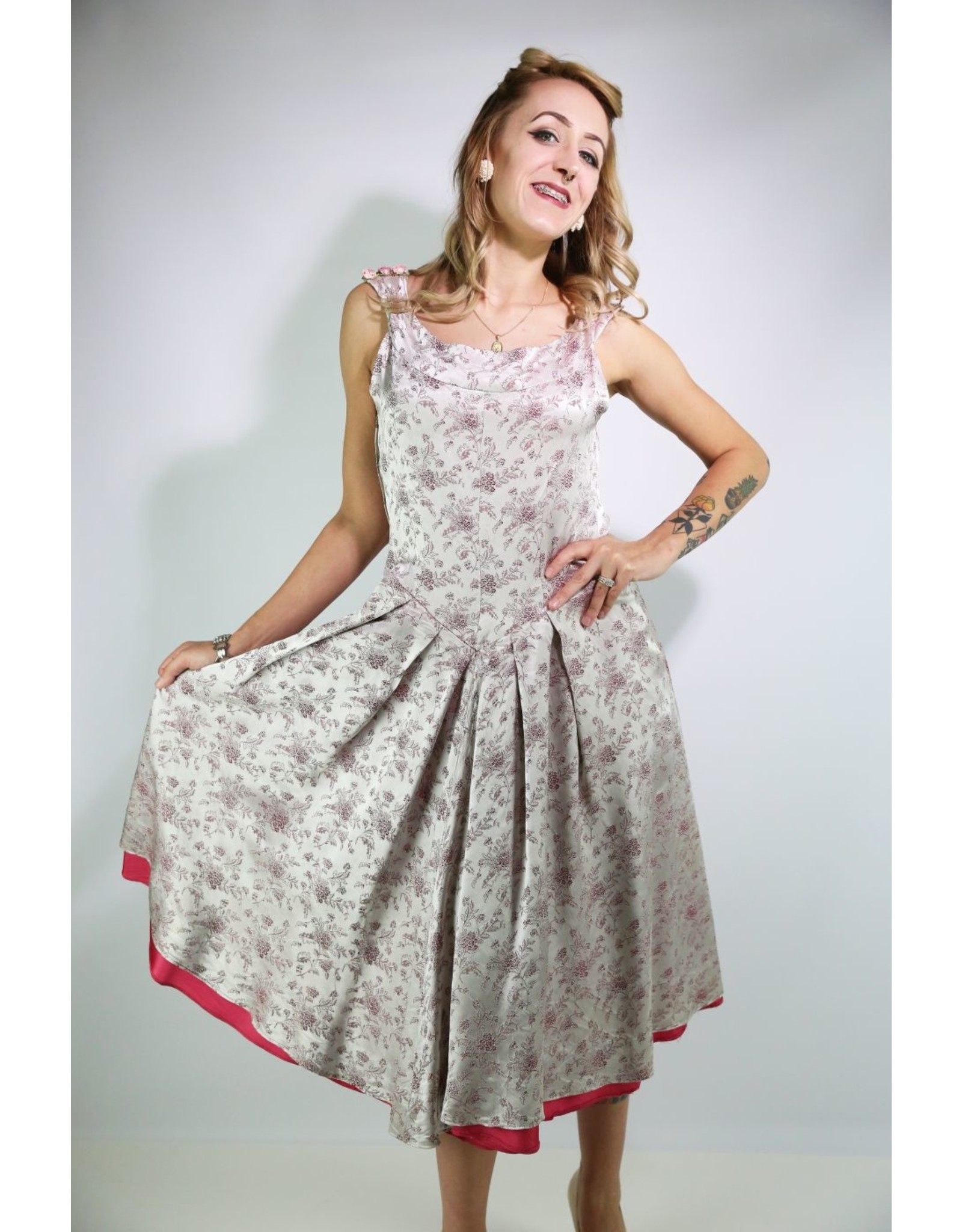 1940's Silky A-line Brocade Party Dress