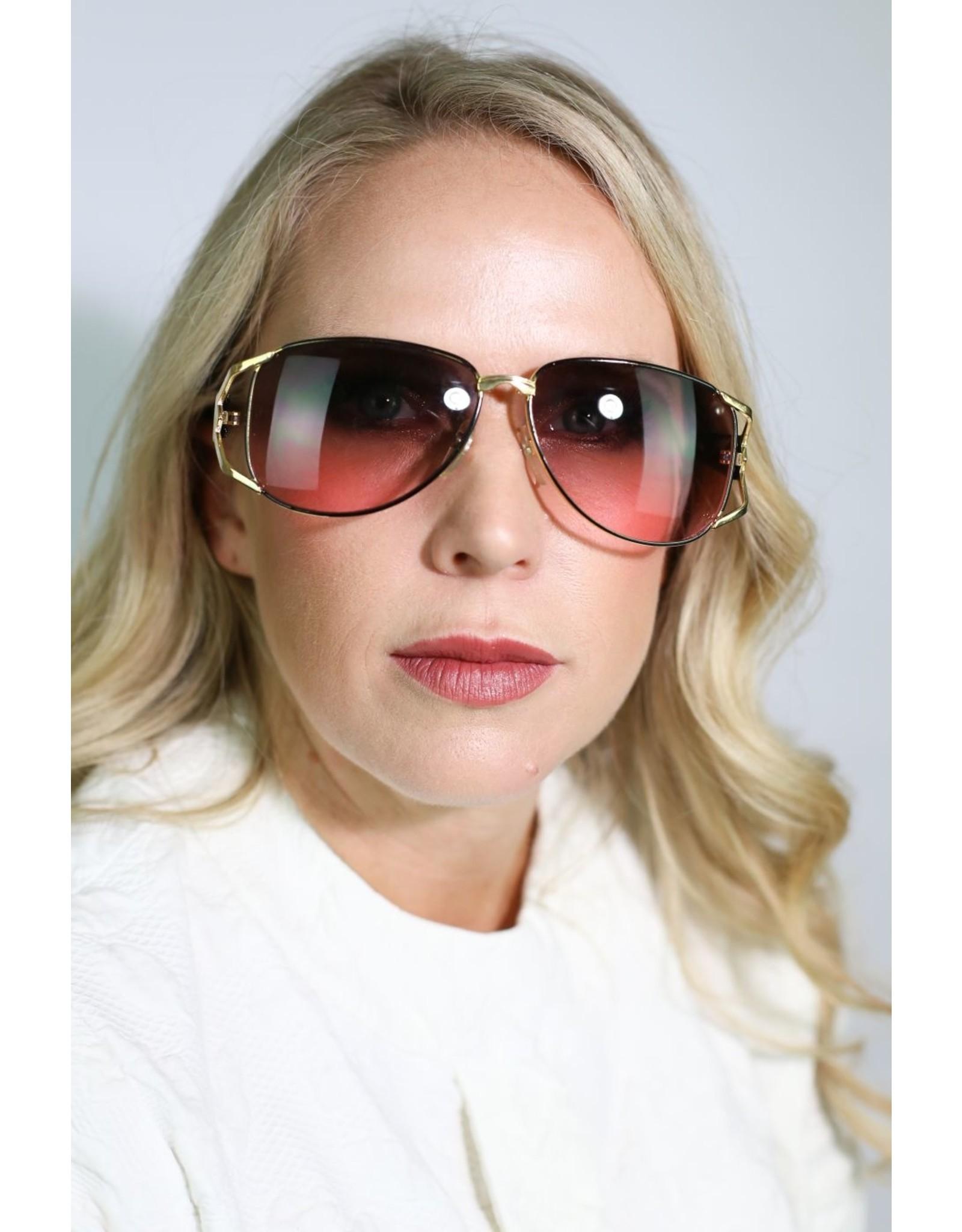 1970's Gold & Black Aviator Sunglasses (NOS)