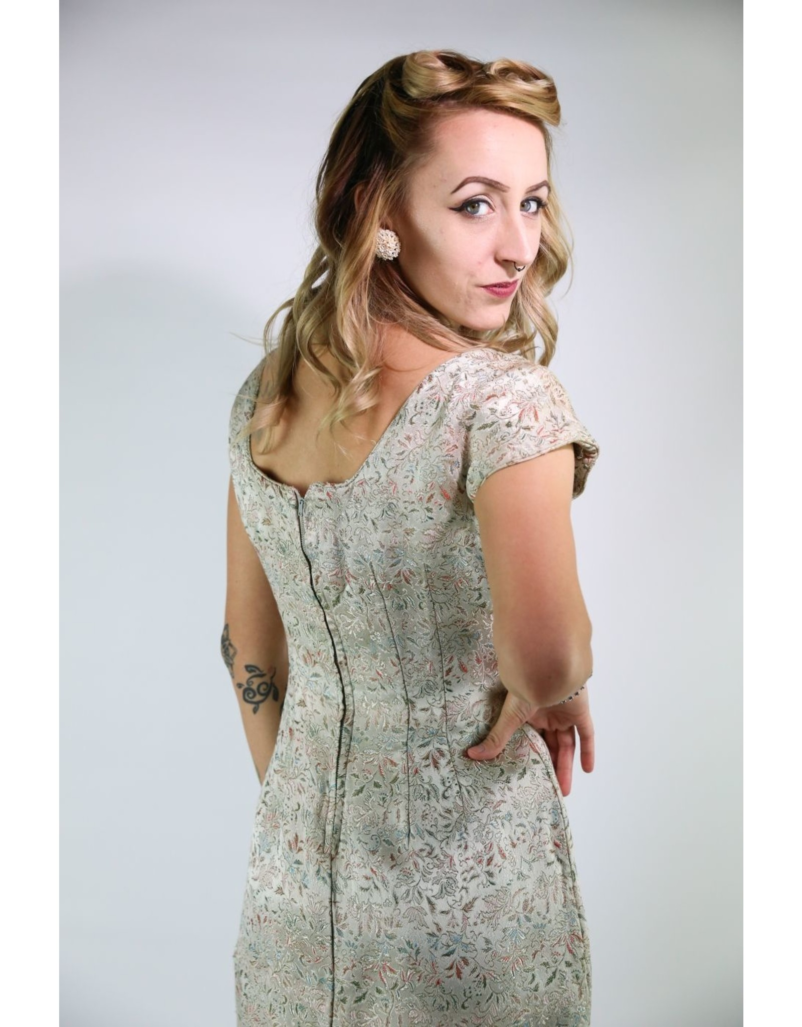 1950's  Sequined Neck Cocktail Dress