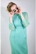 1950's Blue Polka Dot Midi Dress