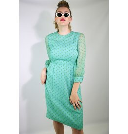 1950's Blue Polka Dot Midi Dress