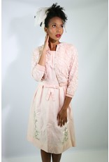 1950's Pink Day Dress w/ Flower Embroidery