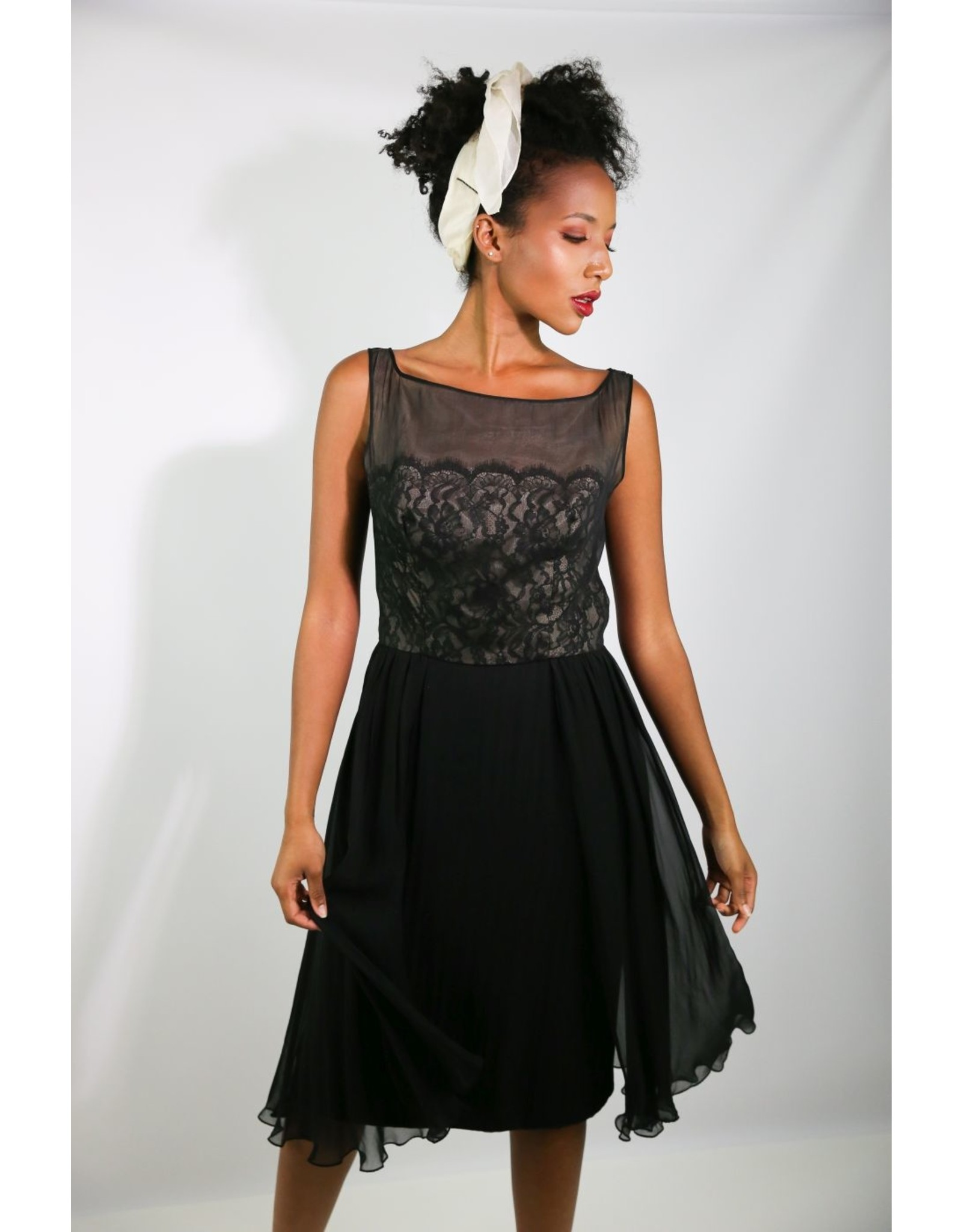 1950's Black Silk Cocktail Dress