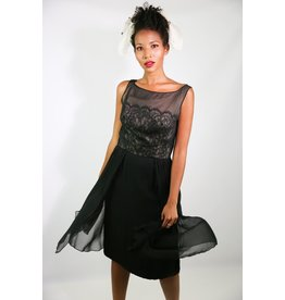 1950's Black Silk Cocktail Dress