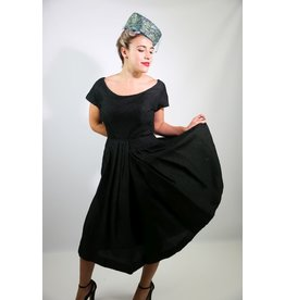 1950's Black Woven Party Dress