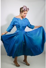 1950's Blue Taffeta Party Dress