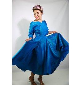 1950's Blue Taffeta Party Dress