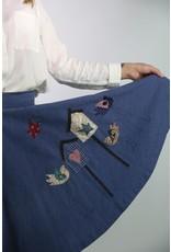 1950's Blue Poodle Skirt w/ Birds