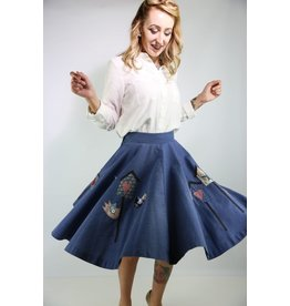 1950's Blue Poodle Skirt w/ Birds