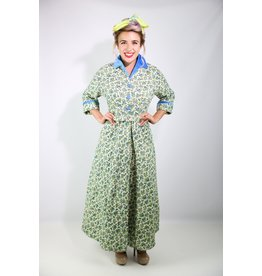 1950's Ivory & Blue Floral House Coat (NOS)