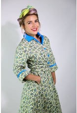 1950's Ivory & Blue Floral House Coat (NOS)