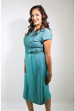 1950's Plus Size Teal Dress with Lace Bodice