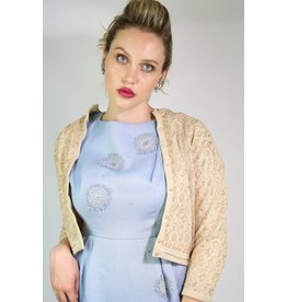 1950's Tan & Gold Lace Cardigan