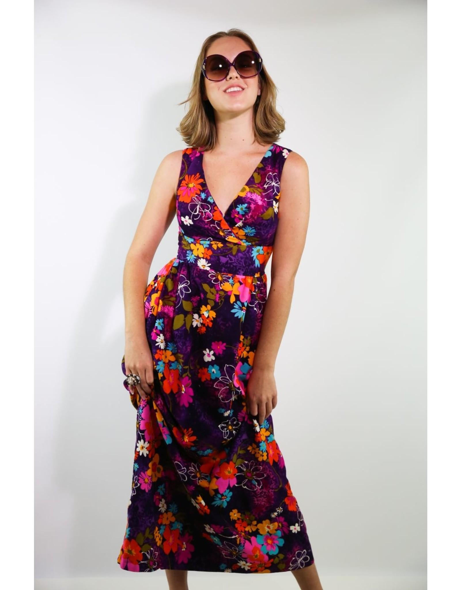 1960's Purple & Orange Floral Hawaiian Maxi Dress
