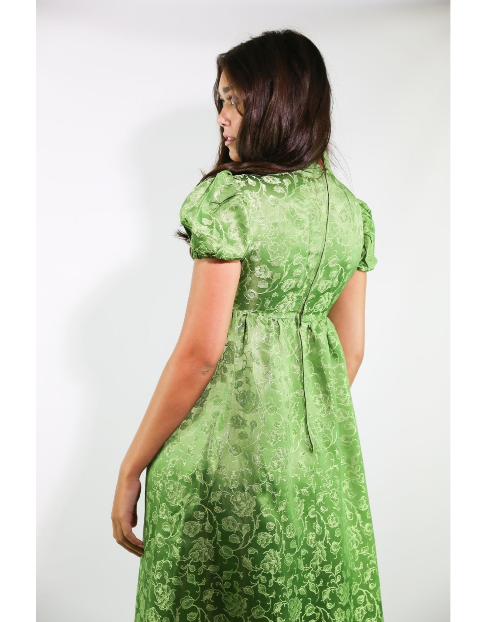 1960's Green Brocade Baby Doll Maxi Dress