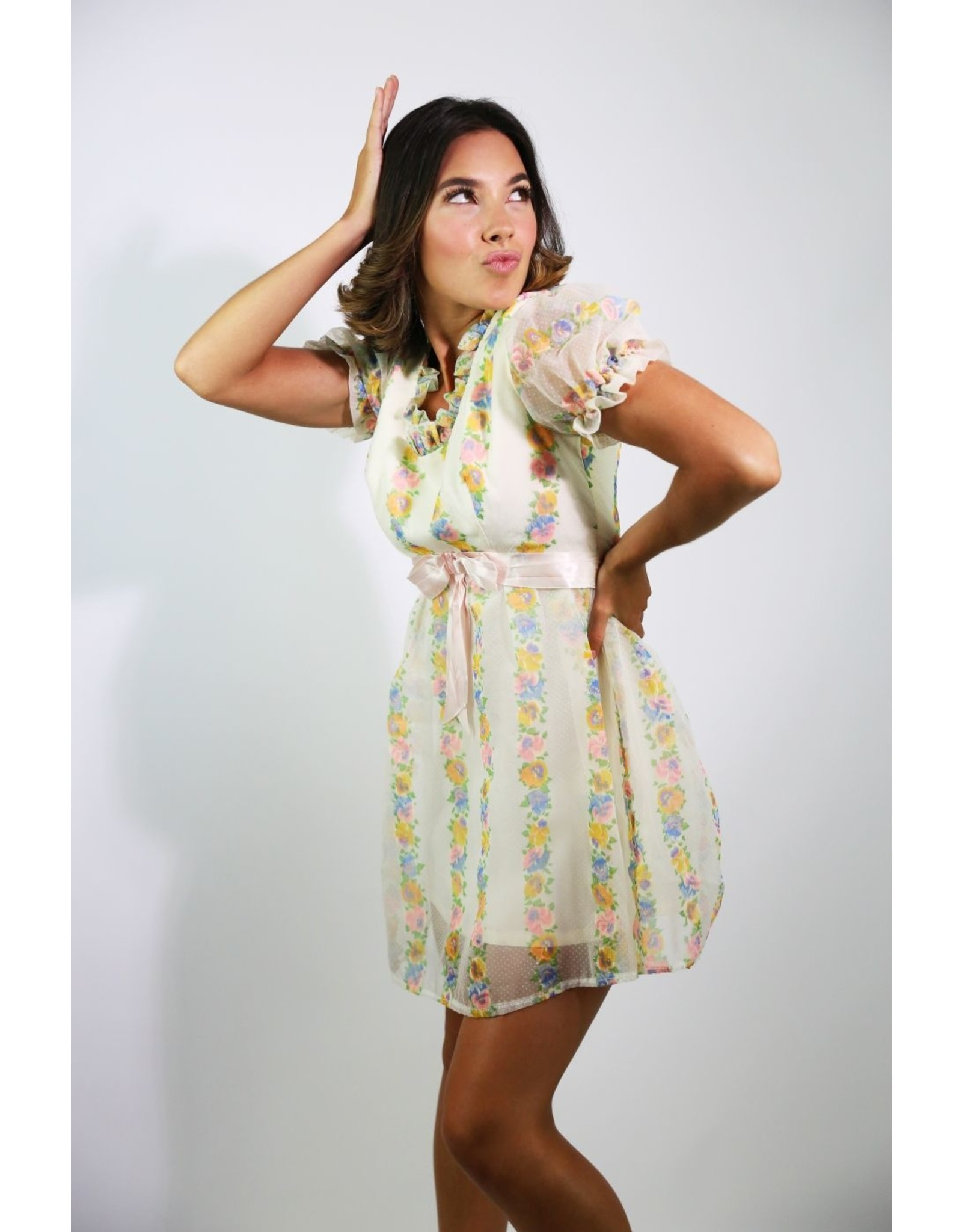 1960's Ivory Floral Baby Doll Mini Dress
