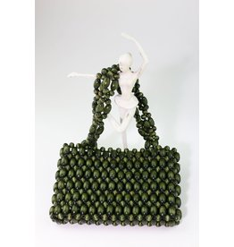 1970's Green Wooden Bead Purse