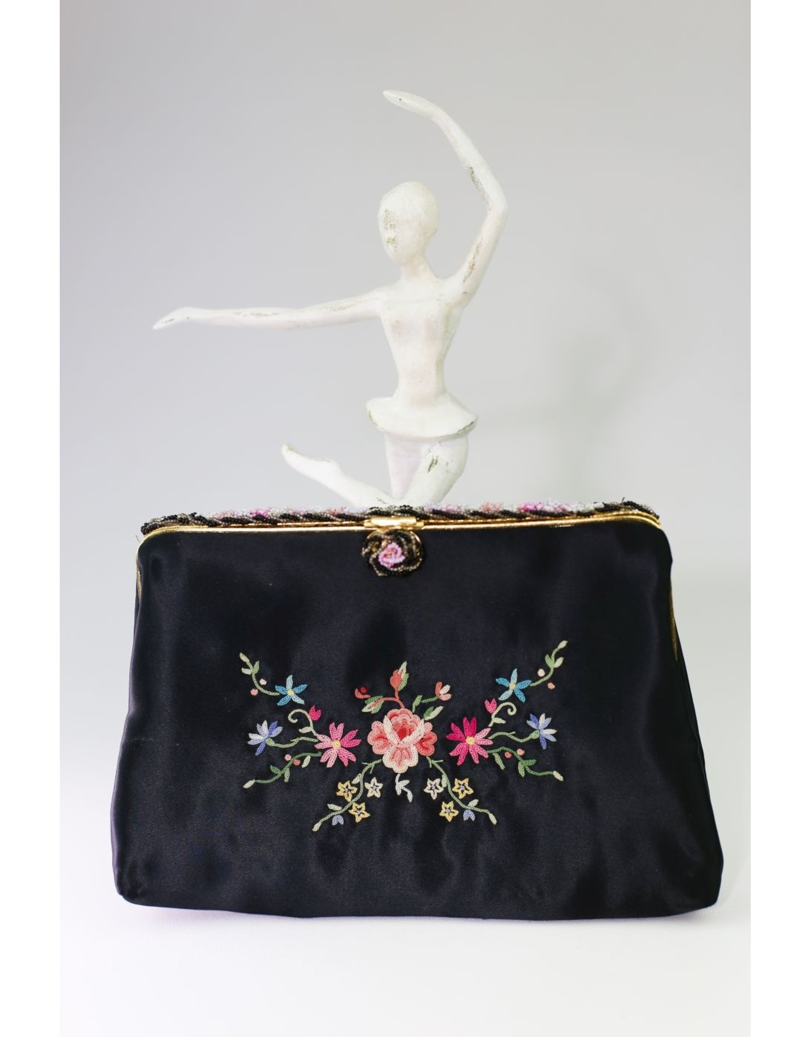 1940's Black Satin Clutch