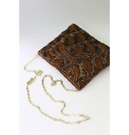 1970's Brown Beaded Evening Bag